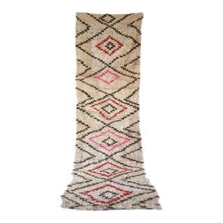 """Vintage Moroccan Boucherouite Runner Rug - 3'10"""" X 12'4"""""""