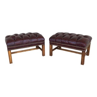 Chippindale Style Stretcher Base Oxblood Footstools A Pair