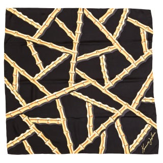 Kenneth Jay Lane Black Bamboo Silk Scarf
