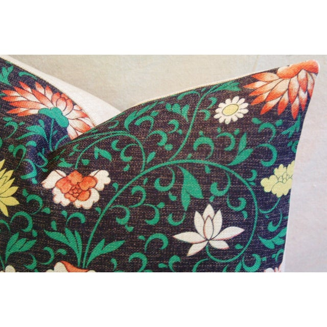 Imperial Scrolling Floral Lotus Linen Pillow - Image 4 of 5