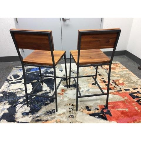West Elm Rustic Counter Stools - A Pair - Image 3 of 11