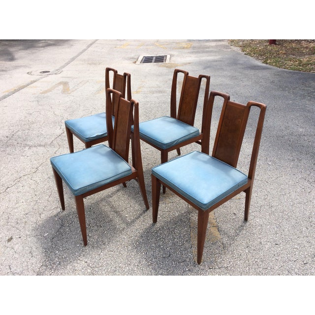 Image of Mid-Century Modern Curved Burl Wood Dining Chairs- Set of 4