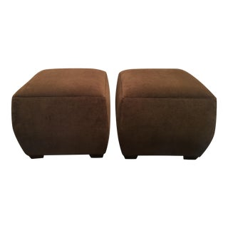 Taylor King Corgi Brown Ottomans - A Pair