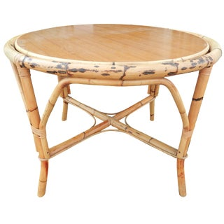 Glass Top Bamboo Dining Table