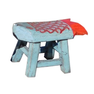 Light Blue Red Color Fish Shape Small Wood Stool