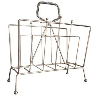 Vintage Gold Metal Magazine Rack
