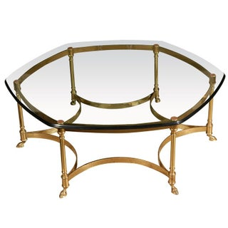 La Barge Polished Brass and Glass CoffeeTable