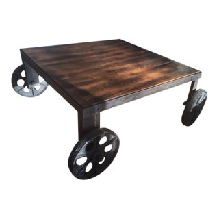 Vintage Industrial Steel & Wood Coffee Table