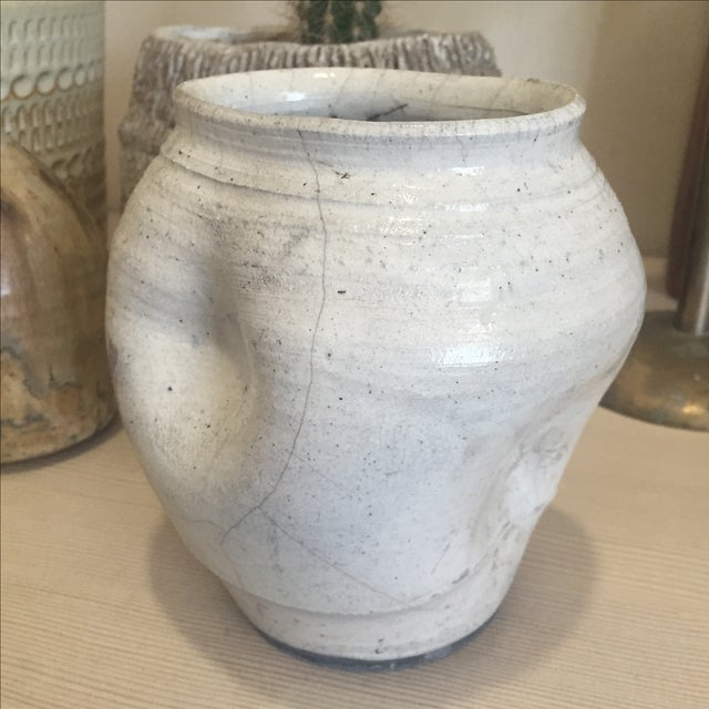 Vintage White Raku Pot Planter - Image 4 of 7