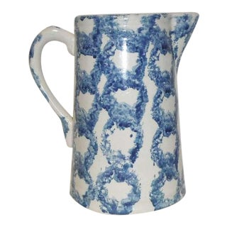 19th Century Salt Glaze Spongeware Pitcher