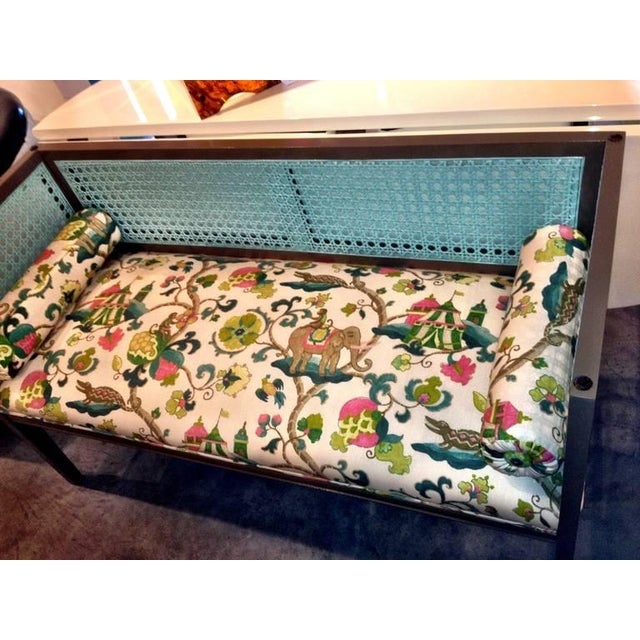 Image of Mid-Century Modern Lacquered and Upholstered Regency Style Settee