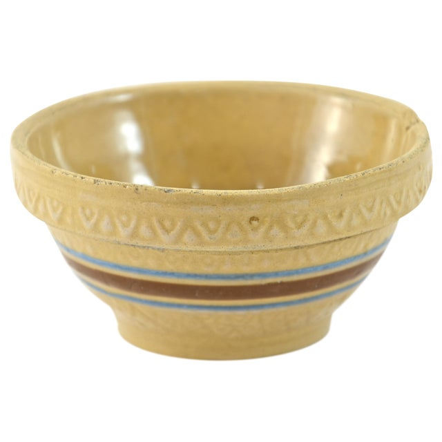 "1930s Blue Stripe 5"" Yellow Ware Bowl - Image 1 of 5"