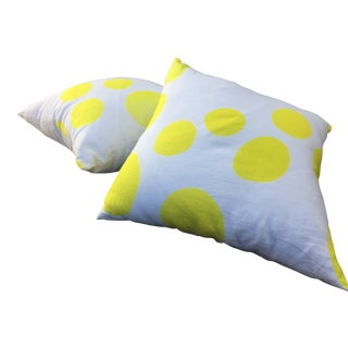 CB2 Yellow Polka Dot Pillows - Set of 2