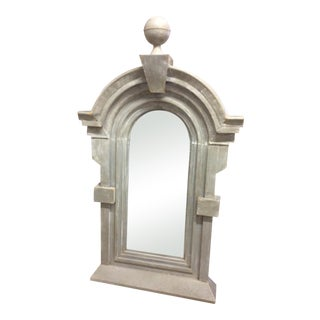 Large French Zinc Mirror With Ball Finial