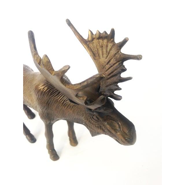 Vintage Brass Moose Statue - Image 5 of 5