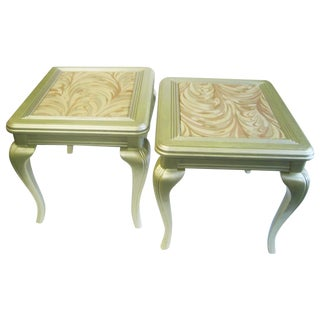 French Country Champagne Side Tables - A Pair