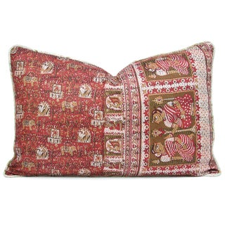 Ceremonial Figures Silk Kantha Pillow