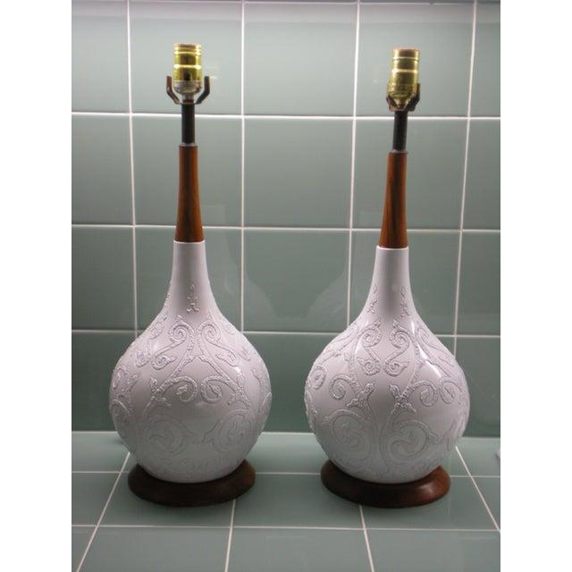 Ceramic and Teak Lamps - A Pair - Image 2 of 4