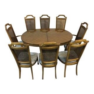 Vintage Carved Tiger Oak Dining Room Suite