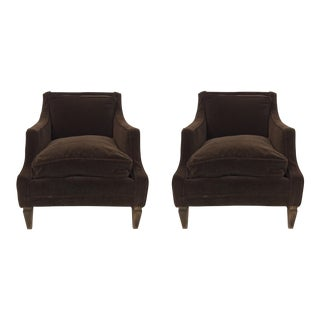 Baker Club Chairs in Mohair - a Pair