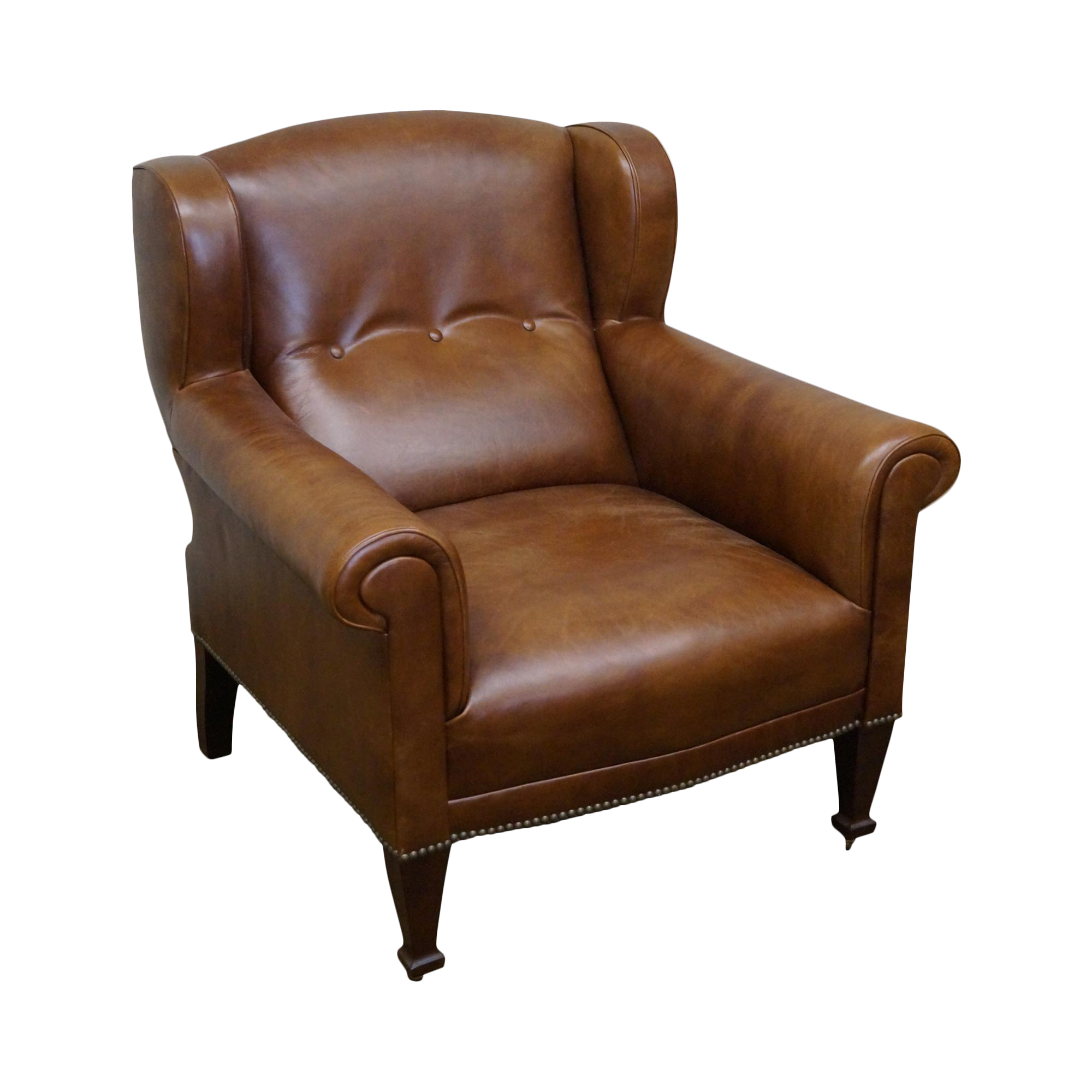 Ralph Lauren Brown Leather Tufted Club Chair