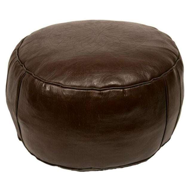 Solid Brown Leather Pouf - Image 3 of 3