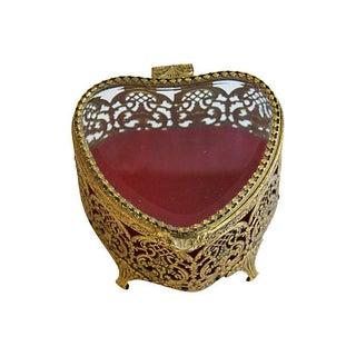 Mid-Century 1950s Heart-Shaped Trinket Jewelry Box