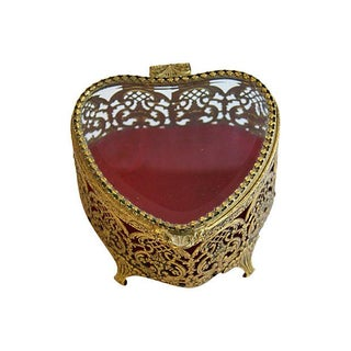 Mid-Century 1950s Heart-Shaped Trinket Jewelry Box