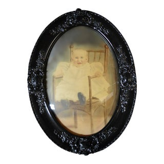 Antique Framed Baby Photograph Under Convex Glass