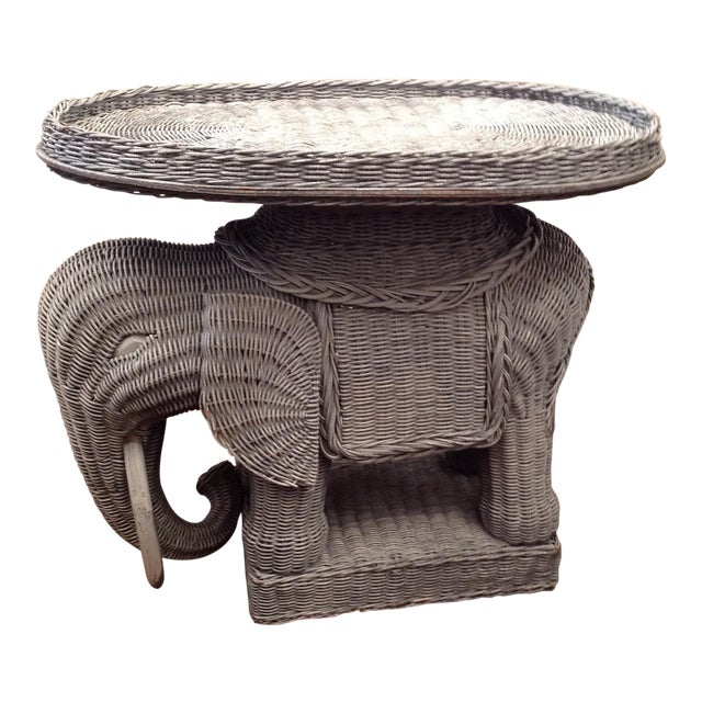 Chinoiserie Palm Beach Wicker Elephant Table - Image 1 of 4