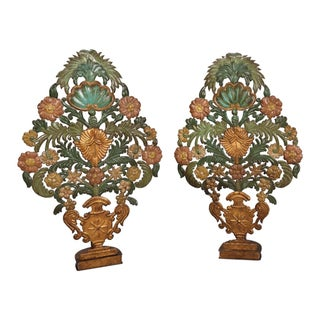 Pair Italian 19th Century Painted Pressed Metal Appliques