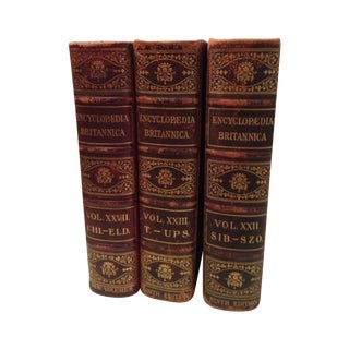 1800s Red & Gold Leather Books - Set of 3