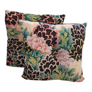 Tufted Peacock Leaf & Flower Pillows- A Pair