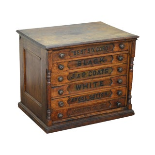 J&P Coats Antique Country Store 6 Drawer Spool Cabinet