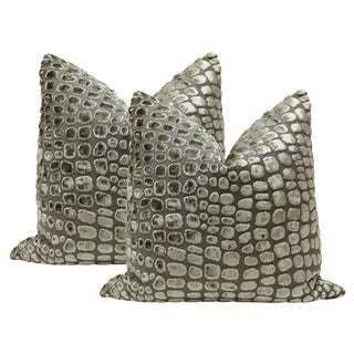"20"" Crocodile Cut Velvet Pillows - A Pair"