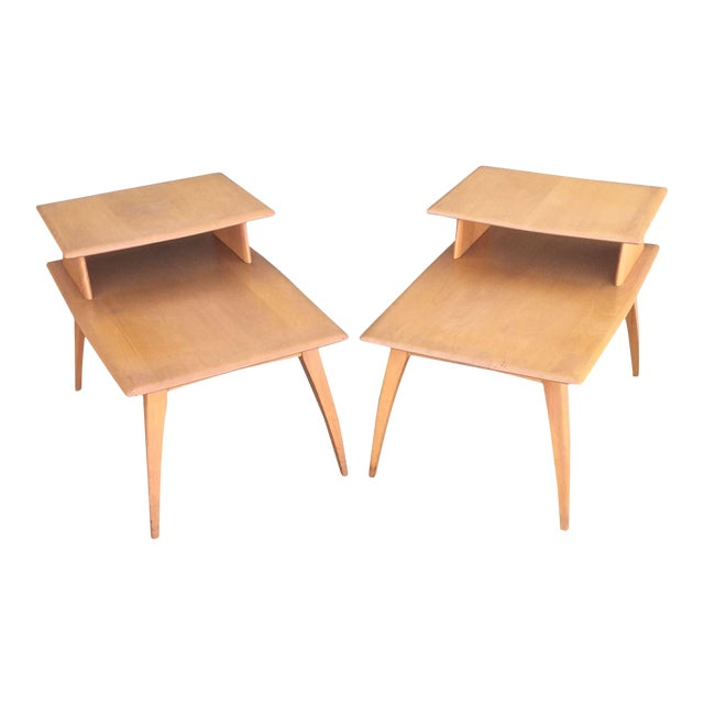 Pair of Heywood-Wakefield Champagne Blonde Saber Leg Side Tables - Image 1 of 11