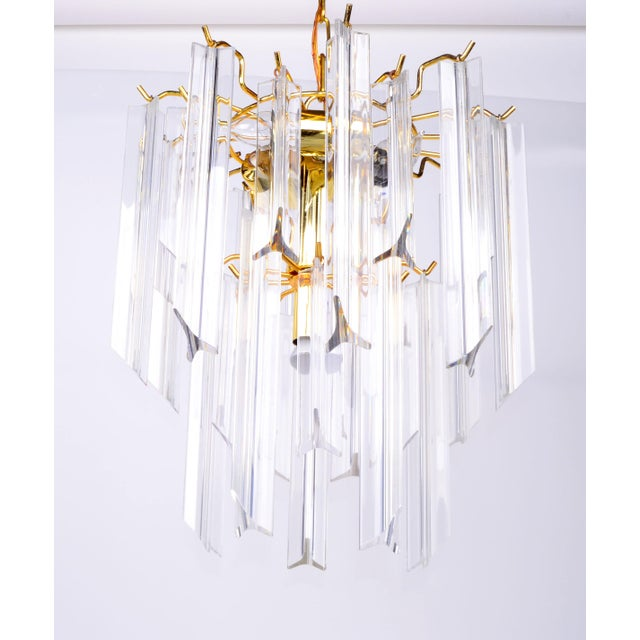 Brass Lucite Chandelier With Canopy Image 3