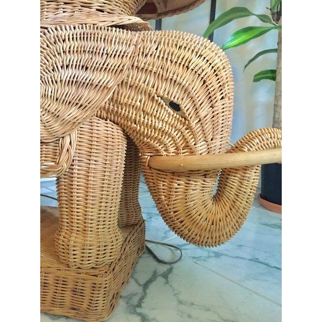 Image of Hollywood Regency Wicker Elephant Table & Lamp