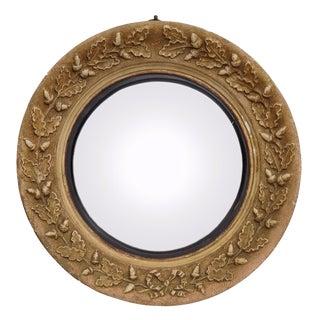 Small Antique English Convex Mirror with Acorns