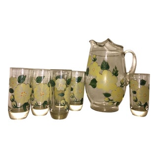 Vintage Hand Blown & Painted Pitcher & Glasses - Set of 7