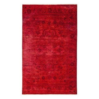 "Vibrance, Hand Knotted Contemporary Red Wool Area Rug - 5' 1"" X 8' 2"""