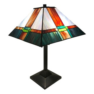 Frank Lloyd Wright Style Stained Glass Table Lamp