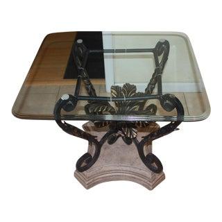 Elegant Beveled Glass Top Side Table