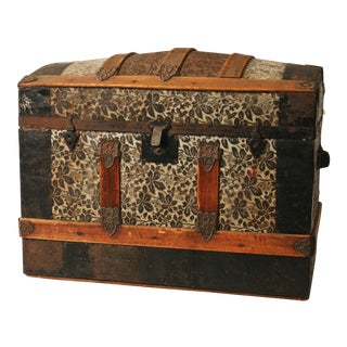 Victorian Wood & Metal Humpback Steamer Trunk
