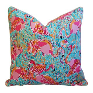 Summer Sale! Lilly Pulitzer-Inspired/Style Tropical Pink Flamingo Pillow