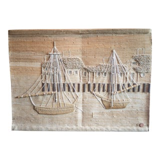 Vintage Don Freedman Nautical Boat Jute Tapestry