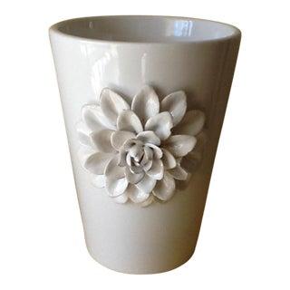White Textural Flower Pottery Vase
