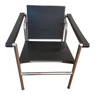 LC-1 Black Leather Chair by Le Corbusier