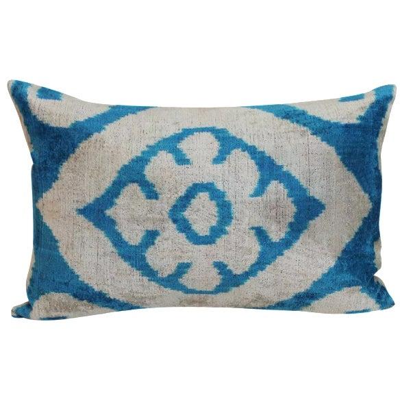 Blue & Beige Allary Silk Velvet Ikat Pillow - Image 1 of 2