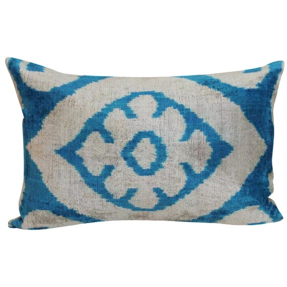 Image of Blue & Beige Allary Silk Velvet Ikat Pillow